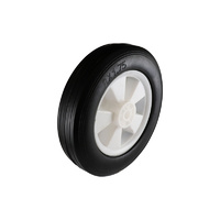 Easyroll 200mm Black Rubber Wheel Plain Bearing 70